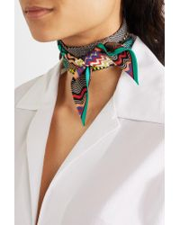 Missoni | Green Printed Silk-twill Scarf | Lyst
