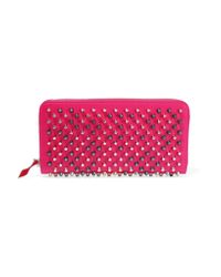 Christian Louboutin | Pink Panettone Studded Leather Continental Wallet | Lyst