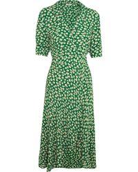 Ganni | Green Dalton Floral-print Crepe Wrap Dress | Lyst