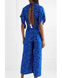 Faithfull The Brand - Blue La Villa Tie-detailed Ruffled Floral-print Crepe Jumpsuit - Lyst