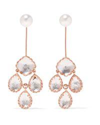 Larkspur & Hawk | Metallic Antoinette Girandole Rose Gold-dipped, Quartz And Pearl Earrings | Lyst