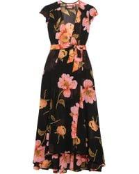 Reformation - Black Floral-print Georgette Wrap Dress - Lyst