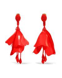 Oscar de la Renta | Red Large Impatiens Resin Clip Earrings | Lyst