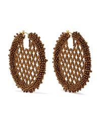 Oscar de la Renta | Metallic Beaded Earrings | Lyst