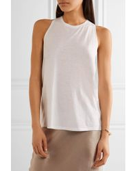 Vince - White Crossover-paneled Slub Jersey Top - Lyst