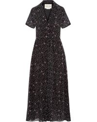 Sandy Liang - Black Picasso Printed Chiffon Midi Dress - Lyst