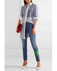 MIRA MIKATI - Blue Embroidered High-rise Skinny Jeans - Lyst