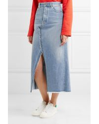 Golden Goose Deluxe Brand - Blue Frayed Denim Midi Skirt - Lyst