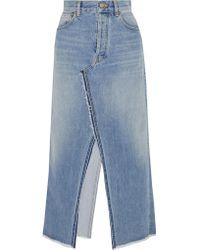 Golden Goose Deluxe Brand | Blue Frayed Denim Midi Skirt | Lyst