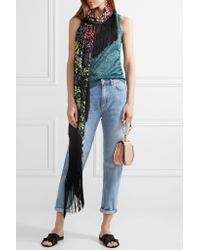 Missoni - Black Fringed Embroidered Crochet-knit Wrap - Lyst