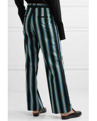 Topshop Unique - Blue Beale Striped Satin-twill Pants - Lyst