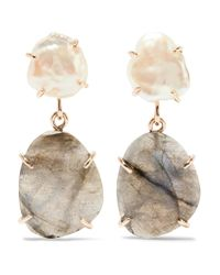 Melissa Joy Manning | Metallic 14-karat Gold, Pearl And Labradorite Earrings | Lyst