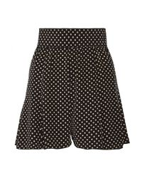 Marc Jacobs - Black Pleated Polka-dot Silk Crepe De Chine Shorts - Lyst