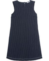 T By Alexander Wang | Blue Frayed Pinstriped Cotton-burlap Mini Dress | Lyst