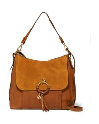See By Chloé - Brown Joan Medium Textured-leather And Suede Shoulder Bag - Lyst