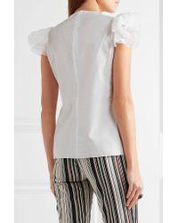 Giambattista Valli - White Ruffled Silk Organza-trimmed Cotton Top - Lyst