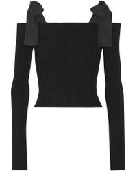 MSGM | Black Off-the-shoulder Poplin-trimmed Ribbed-knit Sweater | Lyst