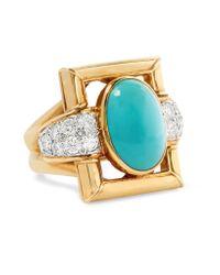 Fred Leighton - Metallic 1970s David Webb 18-karat Gold, Turquoise And Diamond Ring - Lyst