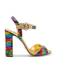 Dolce & Gabbana | Crystal-embellished Sequined Metallic Leather Sandals | Lyst