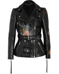 Alexander McQueen | Black Embroidered Painted Leather Biker Jacket | Lyst