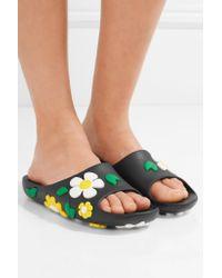 Prada - Multicolor Floral-embellished Rubber Slides - Lyst