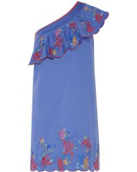 Saloni | Blue Esme One-shoulder Embroidered Washed Stretch-cotton Mini Dress | Lyst