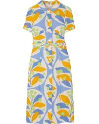 Miu Miu   Yellow Belted Printed Crepe Midi Dress   Lyst