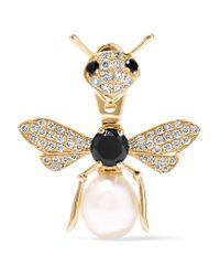 Yvonne Léon | Metallic 18-karat Gold, Diamond And Pearl Earring | Lyst