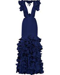 Johanna Ortiz - Blue El Encanto Cutout Ruffled Silk-chiffon Gown - Lyst