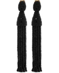 Oscar de la Renta - Black Beaded Clip Earrings - Lyst