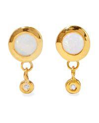 Scosha - Metallic Paradise Gold-plated, Opal And Diamond Earrings - Lyst