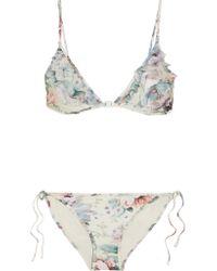 Zimmermann | Blue Jasper Ruffled Tulle-trimmed Printed Triangle Bikini | Lyst
