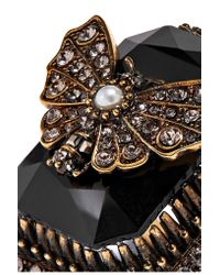 Alexander McQueen - Black Gold-plated, Swarovski Crystal And Faux Pearl Ring - Lyst