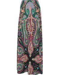 Etro - Green Printed Silk Crepe De Chine Maxi Skirt - Lyst