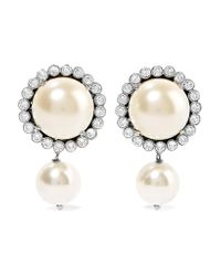 Miu Miu - White Gunmetal-tone, Faux Pearl And Crystal Clip Earrings - Lyst