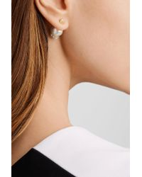 Mizuki - Metallic 14-karat Gold, Pearl And Diamond Earrings - Lyst