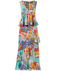 House of Holland - Multicolor Nova Ruffled Printed Satin Maxi Dress - Lyst