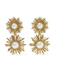 Oscar de la Renta - Metallic Sun Star Gold-plated Faux Pearl Clip Earrings - Lyst