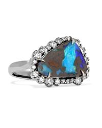 Kimberly Mcdonald | Metallic 18-karat Blackened White Gold, Opal And Diamond Ring | Lyst