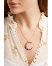 Andrea Fohrman - Metallic Luna 18-karat Rose Gold, Diamond And Ruby Necklace - Lyst