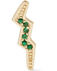 Andrea Fohrman | Metallic Mini Bolt 14-karat Gold Emerald Earring | Lyst