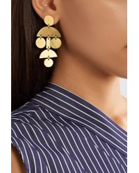 Annie Costello Brown - Metallic Mini Pom Pom Hammered Gold-plated Earrings - Lyst