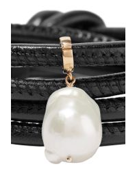 Mizuki | Black Convertible 14-karat Gold, Leather And Pearl Wrap Bracelet | Lyst