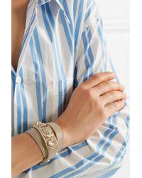 Balenciaga - Natural Metallic Edge Textured-leather And Gold-tone Bracelet - Lyst