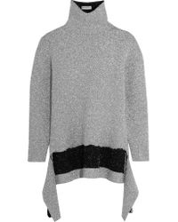 Balenciaga - Gray Asymmetric Metallic Knitted Turtleneck Sweater - Lyst