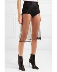 Versace - Black Embroidered Tulle Midi Skirt - Lyst
