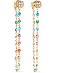 Gucci   Metallic 18-karat Gold Multi-stone Earrings   Lyst