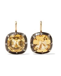 Fred Leighton - Metallic Collection 18-karat Gold, Silver And Citrine Earrings - Lyst