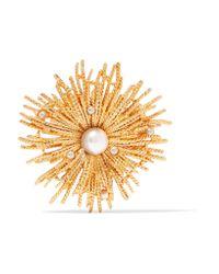 Oscar de la Renta - Metallic Gold-tone Faux Pearl Brooch - Lyst
