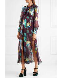 Anna Sui - Multicolor Blithe Spirit Fil Coupé Silk-blend Chiffon Midi Dress - Lyst